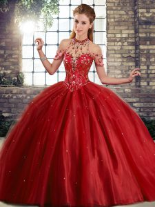 Stunning Sleeveless Beading Lace Up Sweet 16 Dresses with Wine Red Brush Train