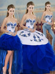 Sophisticated Sleeveless Tulle Floor Length Lace Up Sweet 16 Dress in Royal Blue with Embroidery and Ruffles and Bowknot