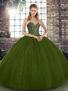 Glamorous Ball Gowns Quinceanera Dresses Olive Green Sweetheart Tulle Sleeveless Floor Length Lace Up