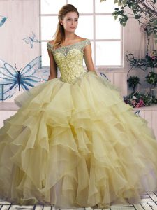 Floor Length Yellow Quinceanera Dress Off The Shoulder Sleeveless Lace Up