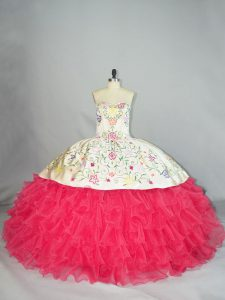 White And Red Sleeveless Embroidery and Ruffles Floor Length Sweet 16 Quinceanera Dress