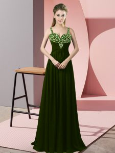 Olive Green Prom Gown Prom and Party with Beading Straps Sleeveless Zipper