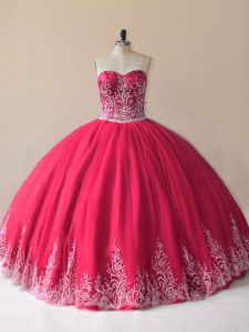 Dynamic Red Sweetheart Lace Up Embroidery 15 Quinceanera Dress Sleeveless