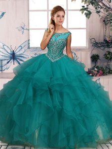Decent Floor Length Turquoise Quinceanera Gowns Organza Sleeveless Beading and Ruffles