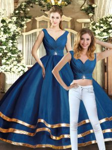 Floor Length Backless Quinceanera Gowns Navy Blue for Military Ball and Sweet 16 and Quinceanera with Beading and Ruffled Layers