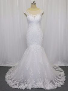 Hot Selling White Mermaid Lace Wedding Dress Clasp Handle Tulle Sleeveless