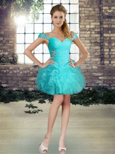 Custom Design Mini Length Aqua Blue Prom Evening Gown Organza Sleeveless Beading and Ruffles