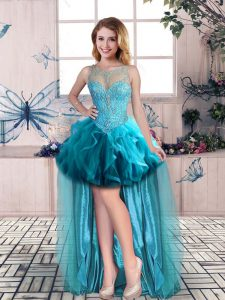 Glamorous High Low Blue Homecoming Dress Tulle Sleeveless Beading and Ruffles