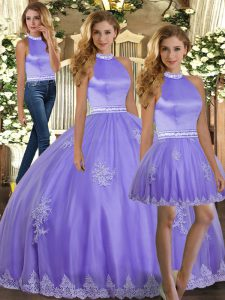 Best Selling Lavender Ball Gowns Appliques Sweet 16 Dresses Backless Tulle Sleeveless Floor Length