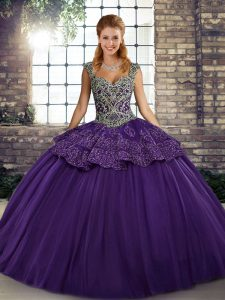 Purple Sleeveless Floor Length Beading and Appliques Lace Up 15 Quinceanera Dress
