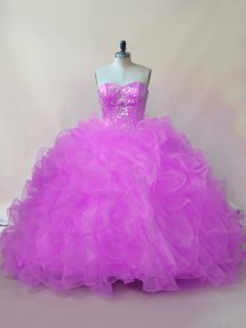 Admirable Sleeveless Organza Floor Length Lace Up 15 Quinceanera Dress in Lilac with Beading and Ruffles