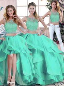 Sleeveless Floor Length Beading and Ruffles Zipper Sweet 16 Dresses with Turquoise