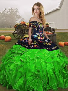 Stylish Green Off The Shoulder Neckline Embroidery and Ruffles Ball Gown Prom Dress Sleeveless Lace Up