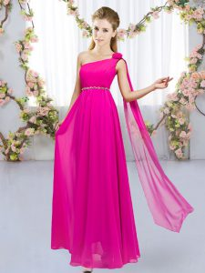 Hot Pink One Shoulder Neckline Beading and Hand Made Flower Court Dresses for Sweet 16 Sleeveless Lace Up