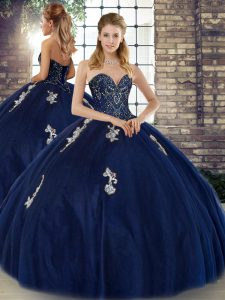 Navy Blue Sweetheart Lace Up Beading and Appliques Ball Gown Prom Dress Sleeveless