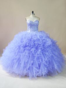 Classical Tulle Sleeveless Floor Length Quinceanera Gowns and Beading and Ruffles