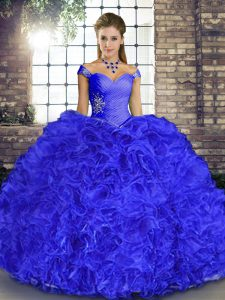 Floor Length Lace Up Quince Ball Gowns Royal Blue for Military Ball and Sweet 16 and Quinceanera with Beading and Ruffles