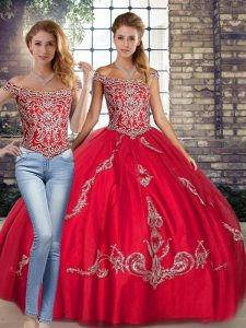 Red Lace Up Off The Shoulder Beading and Embroidery Quince Ball Gowns Tulle Sleeveless