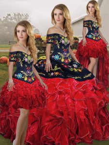 Off The Shoulder Sleeveless Organza Sweet 16 Dress Embroidery and Ruffles Lace Up