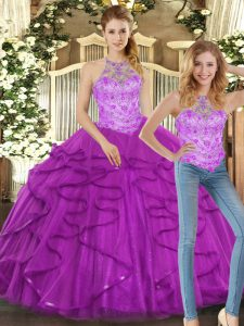 Vintage Purple Ball Gowns Beading and Ruffles Quinceanera Dresses Lace Up Tulle Sleeveless Floor Length