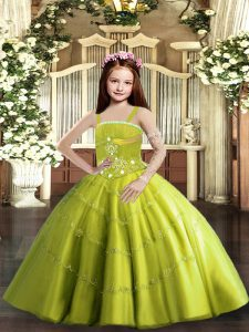Sleeveless Tulle Floor Length Lace Up Pageant Dress Womens in Yellow Green with Beading