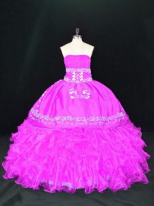 Fuchsia Sleeveless Embroidery and Ruffles Floor Length Quinceanera Dresses