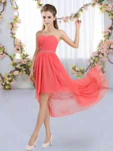 Pretty High Low Watermelon Red Quinceanera Dama Dress Chiffon Sleeveless Beading