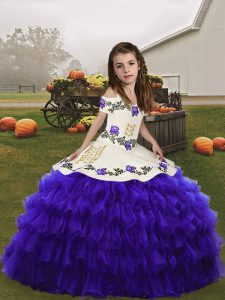 Ball Gowns Little Girls Pageant Dress Wholesale Purple Straps Organza Sleeveless Floor Length Lace Up