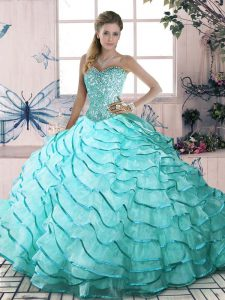 Best Selling Aqua Blue Lace Up Sweetheart Beading and Ruffled Layers Quinceanera Dresses Organza Sleeveless Brush Train