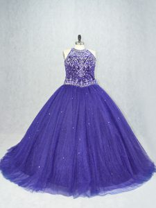 Best Purple Sleeveless Brush Train Beading Quinceanera Dresses