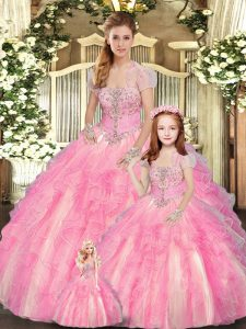 Floor Length Baby Pink Quinceanera Gown Tulle Sleeveless Beading and Ruffles