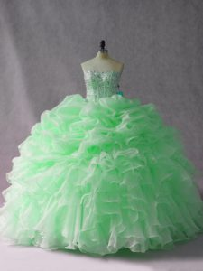 High Quality Organza Sleeveless Quinceanera Gowns Brush Train and Beading and Ruffles