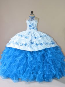 Pretty Blue Halter Top Neckline Embroidery and Ruffles Sweet 16 Dresses Sleeveless Lace Up
