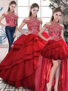 Dramatic Red Sleeveless Beading and Ruffles Lace Up Quinceanera Dress