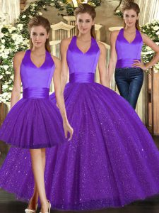 Purple Sequined Lace Up Quinceanera Dresses Sleeveless Floor Length Ruching