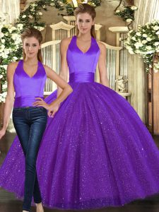 Purple Sequined Lace Up Halter Top Sleeveless Floor Length Quinceanera Dresses Ruching