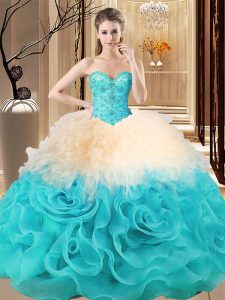 Wonderful Multi-color Sweetheart Neckline Beading and Ruffles Quinceanera Gown Sleeveless Lace Up