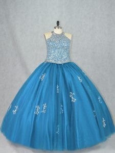 Popular Tulle Sleeveless Floor Length Quinceanera Dress and Beading and Appliques