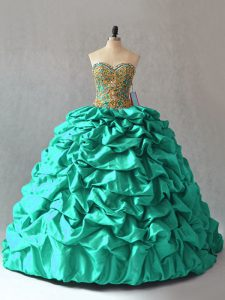 Glittering Sleeveless Beading and Pick Ups Lace Up Sweet 16 Quinceanera Dress with Turquoise Brush Train