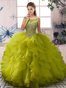 Fashion Sleeveless Organza Floor Length Zipper Vestidos de Quinceanera in Olive Green with Beading and Ruffles