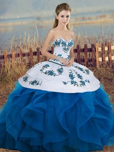 Glamorous Sleeveless Tulle Floor Length Lace Up Quinceanera Gowns in Blue And White with Embroidery and Ruffles and Bowknot