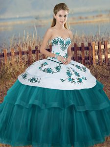 Comfortable Teal Lace Up Sweetheart Embroidery and Bowknot Sweet 16 Dress Tulle Sleeveless