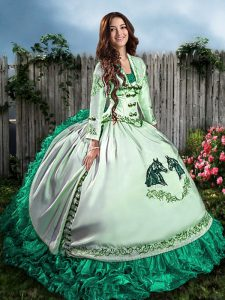 Turquoise Satin and Organza Lace Up Vestidos de Quinceanera Sleeveless Floor Length Embroidery and Ruffles