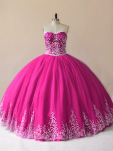 Fuchsia Ball Gowns Tulle Sweetheart Sleeveless Embroidery Floor Length Lace Up Quinceanera Gowns