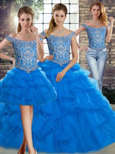 Smart Tulle Sleeveless Ball Gown Prom Dress Brush Train and Beading and Pick Ups