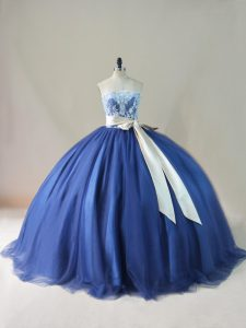 Custom Designed Lace Up Quinceanera Dress Navy Blue for Sweet 16 and Quinceanera with Appliques and Sashes ribbons and Bowknot Brush Train