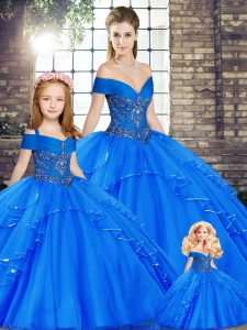 Fashion Floor Length Royal Blue Quince Ball Gowns Tulle Sleeveless Beading and Ruffles