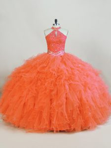 Admirable Floor Length Orange Sweet 16 Dress Tulle Sleeveless Beading and Ruffles