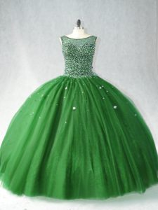 Artistic Zipper Vestidos de Quinceanera Dark Green for Sweet 16 and Quinceanera with Beading Brush Train