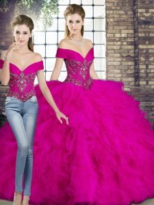 Cheap Floor Length Lace Up 15 Quinceanera Dress Fuchsia for Military Ball and Sweet 16 and Quinceanera with Beading and Ruffles